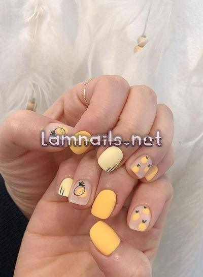 Mẫu Nail Đẹp: Mẫu nail trái dứa, dạy vẽ móng họa tiết trái dứa ngọt mát, xu hướng nail 2021