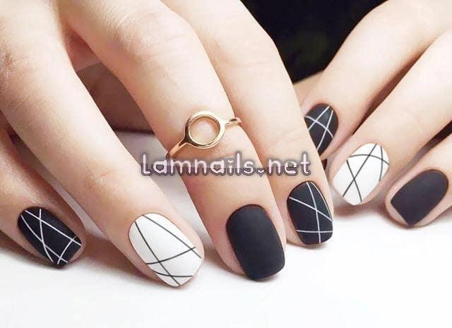 Mẫu Nail Đẹp: Mẫu nail trắng đen, xu hướng nail 2021, hướng dẫn vẽ móng trắng đen thời thượng