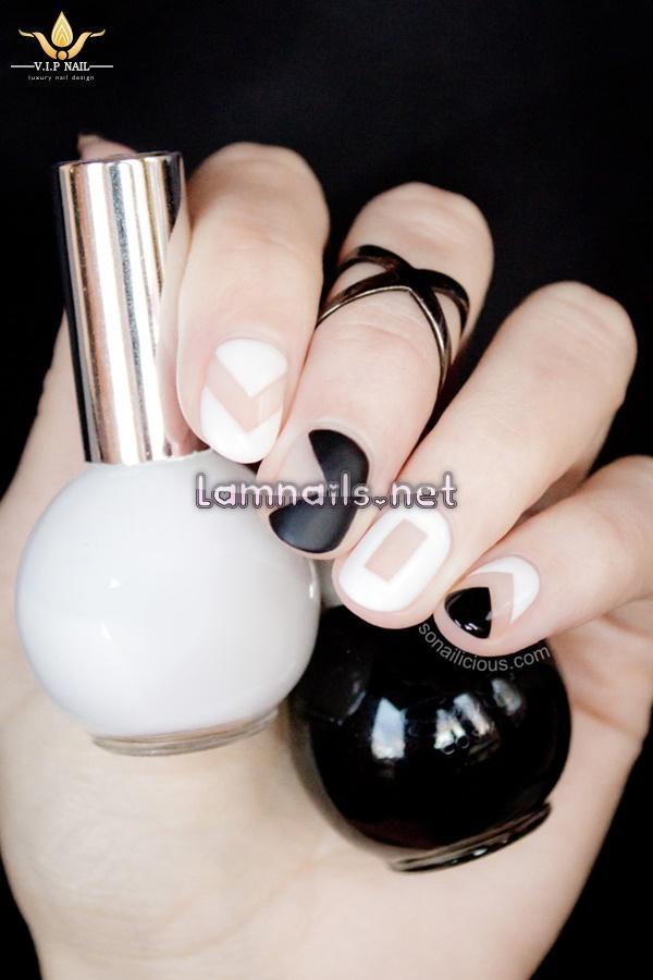 Học vẽ nail Cut out đen trắng độc đáo; - baogiadinh.vn