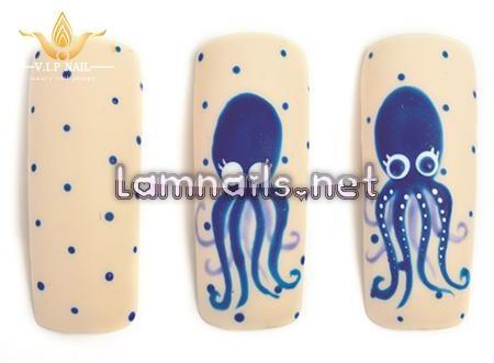 Mẫu móng tay đẹp họa tiết Chú bạch tuộc dễ thương