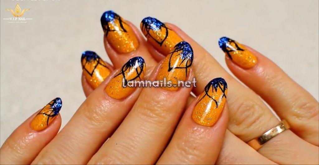 Video dạy vẽ nail hoa vàng lấp lánh - baogiadinh.vn