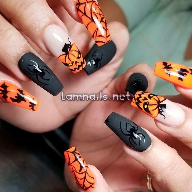 Mẫu nail Halloween bí đỏ ma thuật ấn tượng