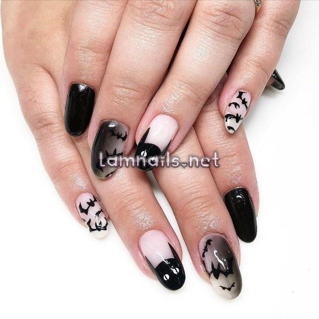 Một trong các mẫu nail đơn giản dành cho lễ Halloween