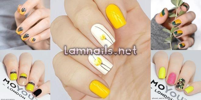 Mẫu Nail Đẹp: Mẫu nail hoa vàng. Khóa dạy vẽ nail hoa vàng lấp lánh đơn giản cho các nàng