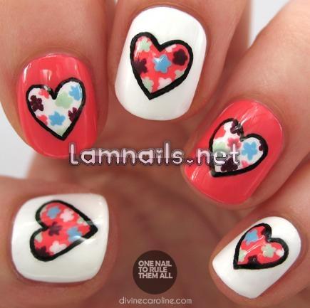 mẫu trái tim hoa  - lamnails.Net