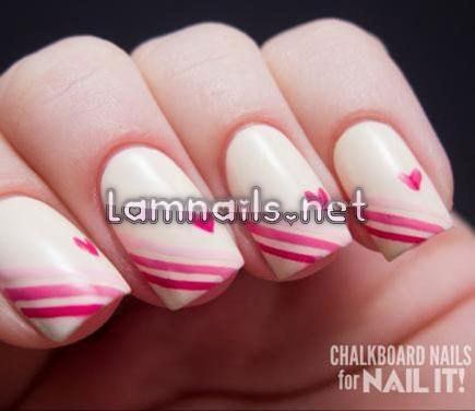 Nail ombre sọc màu hồng cách điệu - lamnails.Net