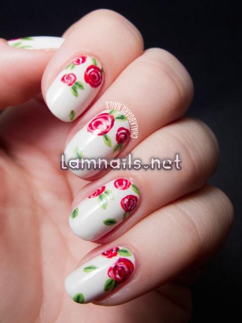sweet-rose-floral-print-nail-art_1 - lamnails.Net