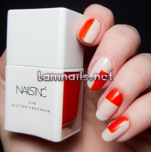orange-and-white-nails - lamnails.Net