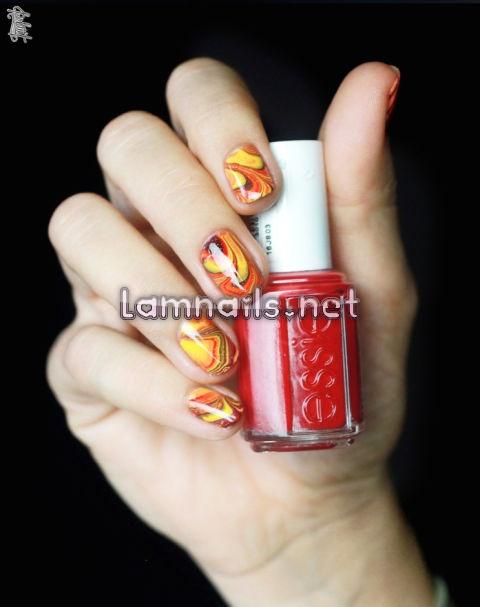 autumn-water-marble-nail-art - lamnails.Net