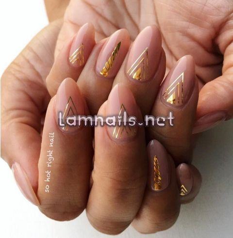 nude-and-gold-nail-art - lamnails.Net