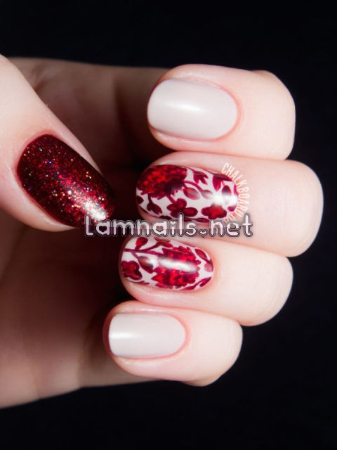 ruby-floral-print-glitter-nail-art - lamnails.Net