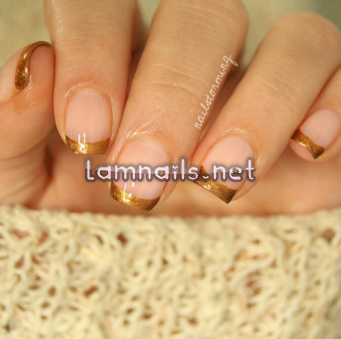 gold-french-tips - lamnails.Net