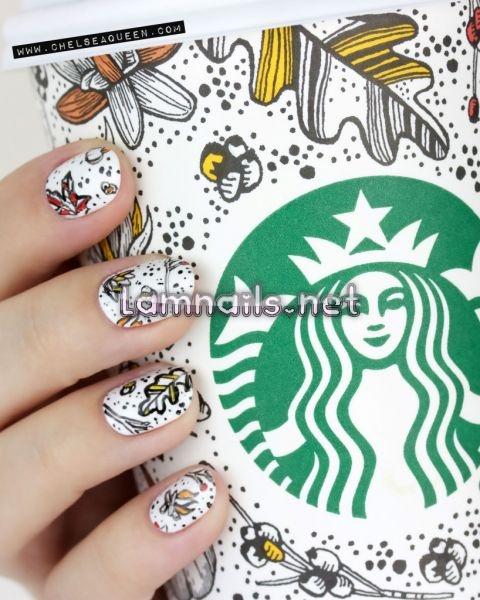 pumpkin-spice-latte-starbucks-cup-nail-art - lamnails.Net