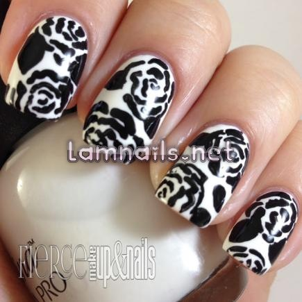 black-and-white-floral_109990 - lamnails.Net
