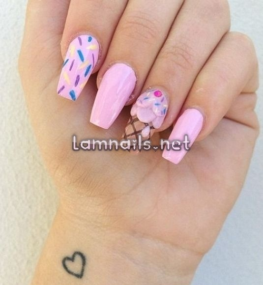 Ice Cream Nail Art Ideas for Summer 2016 | Girlshue #nailart #nailartideas