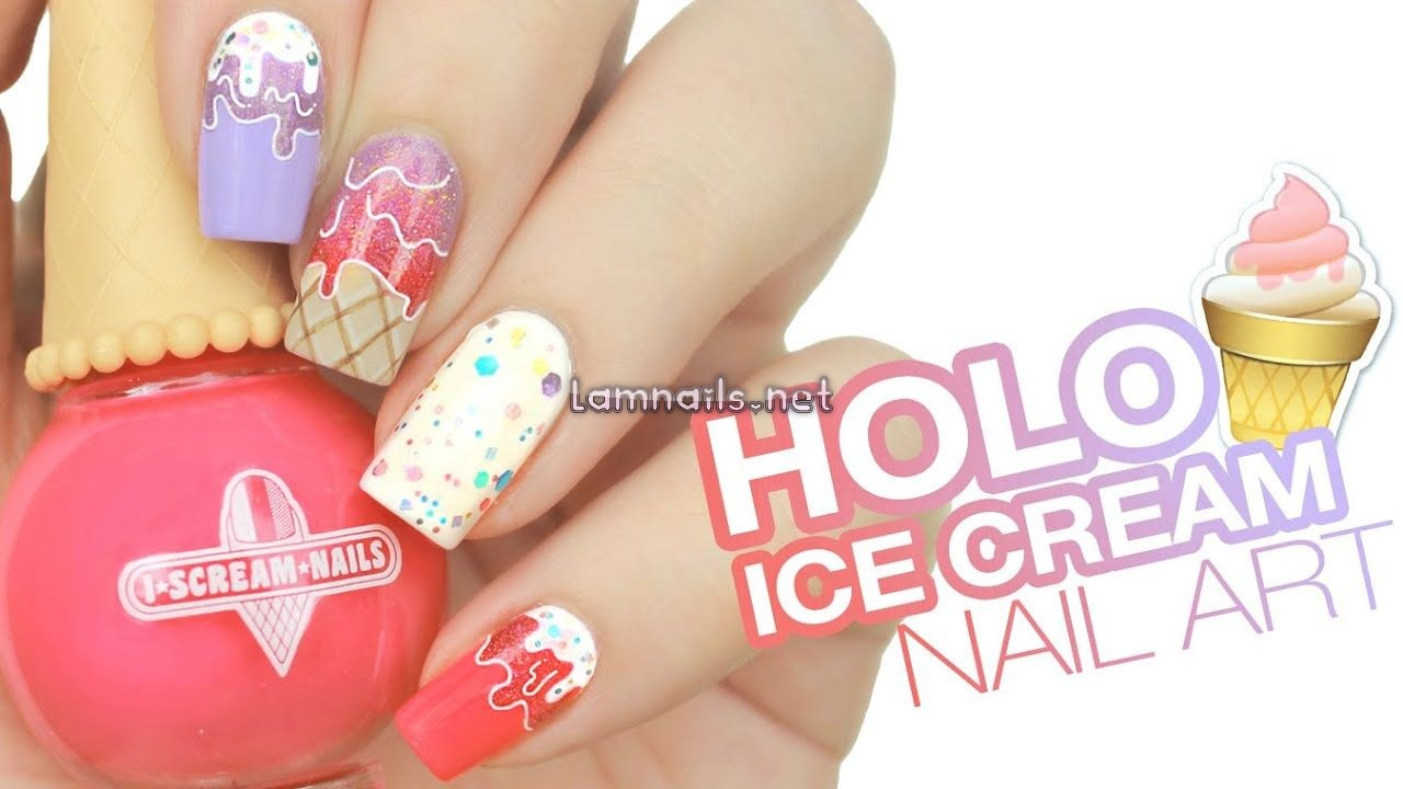 Holographic Ice Cream Drip Nail Art | Live Love Polish