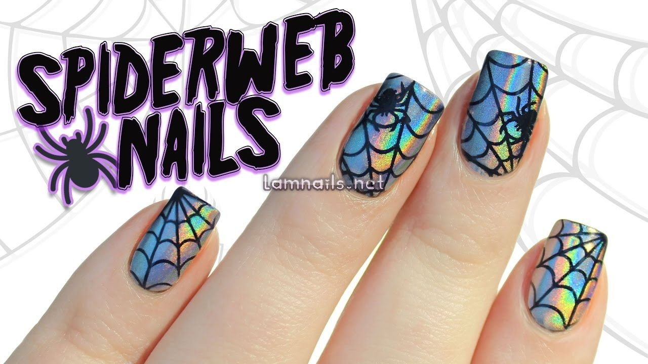 To kick off spooky season, today I'll show you to do these super shiny holographic chrome nails with spiderweb cut outs using nail art stencils! Whats Up Nai...
