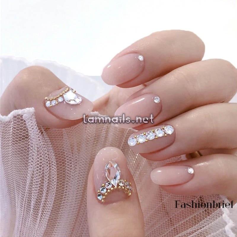 Bộ 24 móng tay giả đầu vuông ngắn đính đá dùng trang điểm cô dâu   Shopee Việt Nam