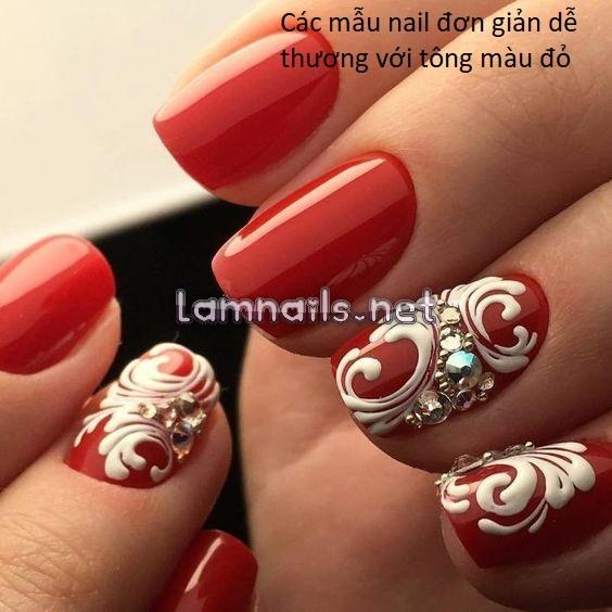 Top 10 mẫu nail đẹp đơn giản dễ thương với tông màu đỏ đầy nét quyến rũ